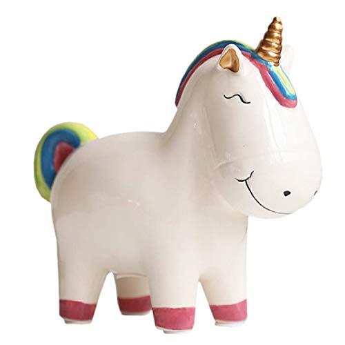 Yevir Lovely Rainbow Unicorn Piggy Bank, Cute Ceramic Coin Money Piggy Bank for Girls and Boys, Personalized Piggy Banks for Girls or Boys (White