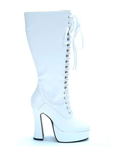 Ellie Shoes E-Easy Lace Up Knee Boots with 5 Inch heel 8 White