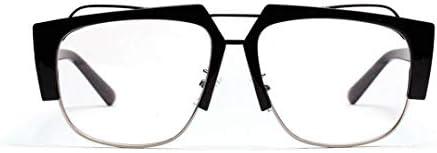 LIUYALE Quadratische freier Halbmetallflachglasrahmen, Schutz der Augen Anti-Ermüdung der Augen High Density Leichtes Promi-Glas Brillenfassungen (Color : Black)