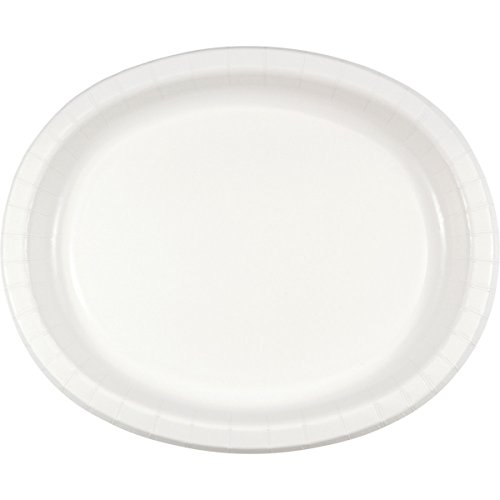 Creative Converting 8 Count Oval Paper Platters, White - 433272 -