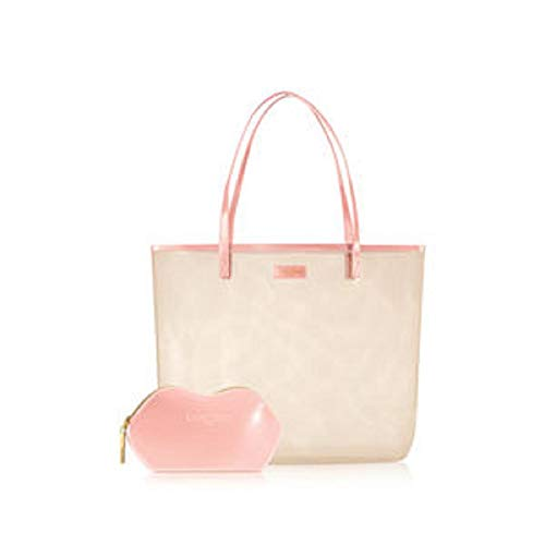 Lancome 2 WHITE & PINK Cosmetic Makeup Bag & Purse Set