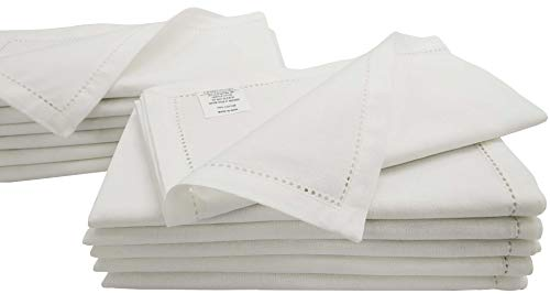 Linen Clubs Set of 12 White Cloth Dinner Napkins, Over-Sized 20x20 Inch Hemstitched Napkins with Mitered Corner Finish