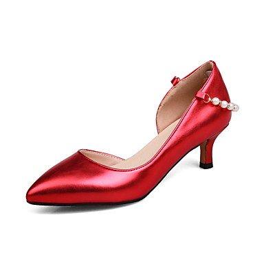 AIURBAG Mujer-Tacón KittenTacones-Vestido-Semicuero-Dorado Plata Morado Rojo
