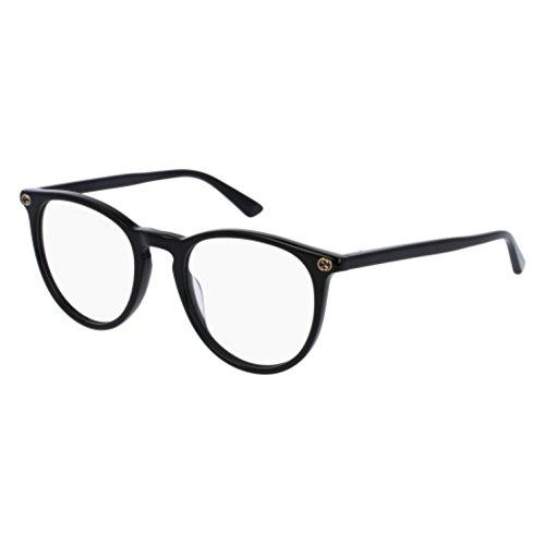 Gucci GG 0027O 001 Black Plastic Round Eyeglasses - Round Frame Acetate Sunglasses Gucci