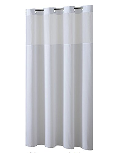 YQN Hookless Shower Curtain with Removed Fabric Inner Liner & Magnet 70.8 x 74 Inch Polyester Bath Curtain with Light-Filtering Mesh Screen Anti Mildew ABS Flex-On Rings White