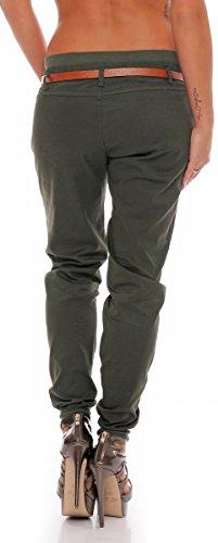 malito Chino-Pantalones con Cinturón por imitación de cuero Bombacho Pitillo Lady-Fit 5396 Mujer oliva