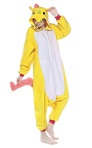 Unisex Aduit Unicorn Pajamas- Plush One Piece Cosplay Animal Costume (Unicorn Yellow -1,XL-for Height 71