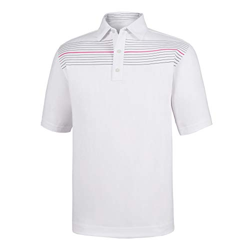 (Athletic Fit Lisle Chest Pinstripe Self Collar White)