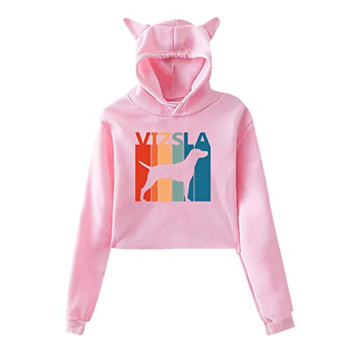 Womens Girls Cat Unicorn Pullover Hoodie Funny Vizsla Puppy Dog Cartoon Cropped Sweatshirts Pink
