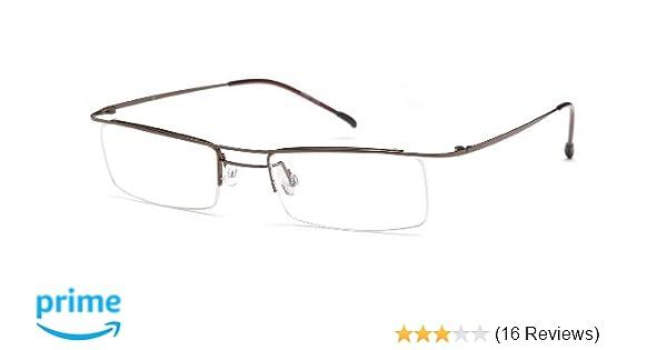 ec13218dc7 Amazon.com  Unisex Semi-Rimless Glasses Frames Brown Prescription  Eyeglasses 49-17-135  Clothing