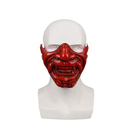 Halloween Horrible Half Face Japanese Prajna Mask Cosplay Evil Demon Monster Kabuki Samurai Hannya Oni Half Cover Mask (Red) ()