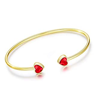 ETEVON Girl's Sweet Heart 925 Sterling Silver Flexible Bangle Cuff, White Gold/18K Gold Plated Cuff Bracelet for Women with Crystals from Swarovski, Birthday Jewelry Gifts for Girls Daughter Sister