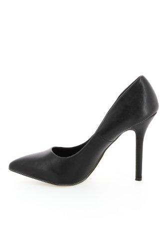 Sandalias puntiaguda piel Negro - negro