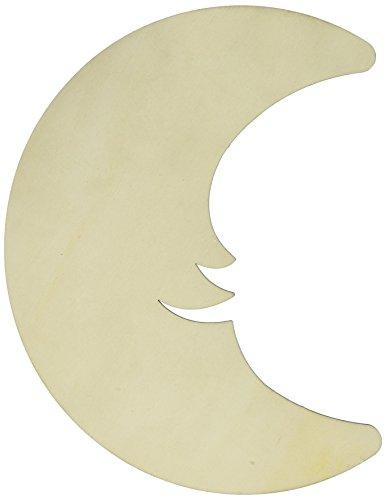 Darice Hanger Crescent Wood Cresent Moon Plaque, Multi