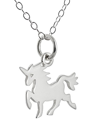 FashionJunkie4Life Sterling Silver Small Unicorn Silhouette Charm Necklace, 18
