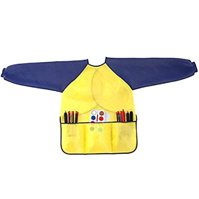 Kids Art Smocks Pack of 2 - Children Artist Painting Aprons Waterproof and Long Sleeve with 3 Roomy Pockets for Boys and Girls Age 2-6 Years Old: Toys & Games