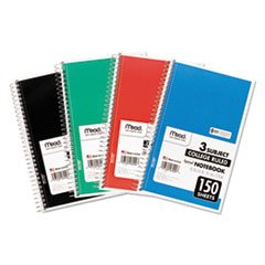 - MEAD PRODUCTS, Spiral Bound Notebook, College Rule, 6 x 9-1/2, White, 3 Subject 150 Sheets/Pad