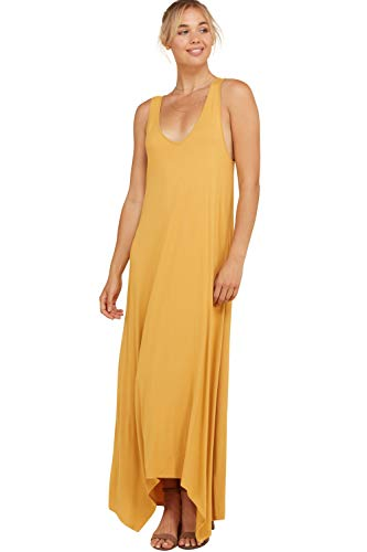 Annabelle Women's Plus Size Sleeveless Tank V-Neck Solid Print Uneven Hem Maxi Dress with Side Pockets Mustard X-Large D5291