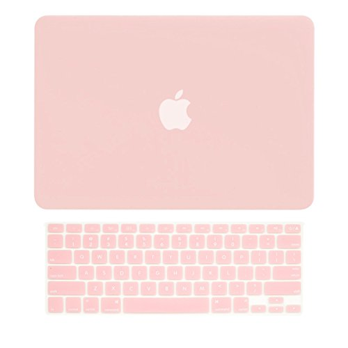 "TOP CASE - 2 in 1 Rubberized Hard Case Cover and Rose Quartz Keyboard Cover for MacBook Pro 13.3"" (13"" Diagonally) with Retina Display (Old. Gen. 2012-2015) Model: A1425 / A1502 - Rose Quartz"