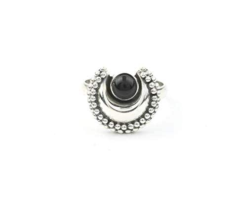 Adjustable ring with moon and Black Onyx stone in 925 Sterling Silver