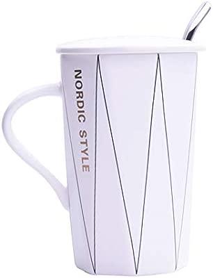 porteay Taza de cerámica sencilla y creativa con una cuchara de ...