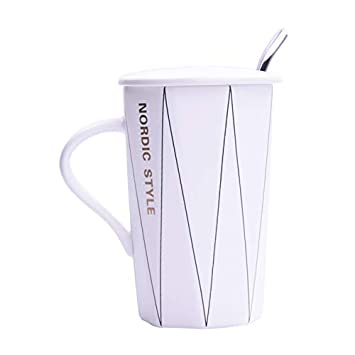 porteay Taza de cerámica sencilla y creativa con una cuchara de tapa, taza de bebida personalizada pareja de café con leche, taza de línea blanca (ropa ...
