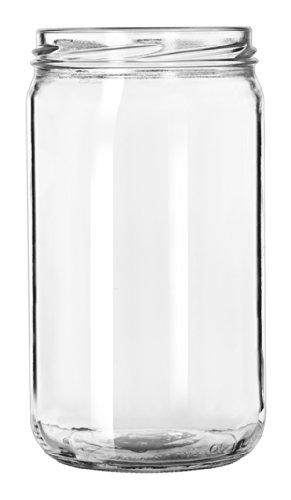 Set of 6 Drinking / Storage Jar 24 oz. No Handle, Libbey Glass 92105 w/ Signature Party Picks