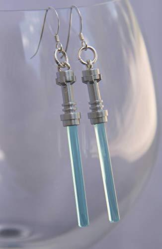 (Star Wars Lightsaber Handmade Earrings Jewelry STERLING SILVER Hooks Jedi Light Blue Christmas or birthday Party gift stocking stuffer for teen girls or women)