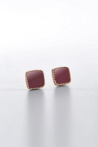 s925 Silver Earrings earings Dangler Eardrop Women Girls Models Fashion Gift Woman Geometry Square Earring Inlaid Onyx Piece Tide