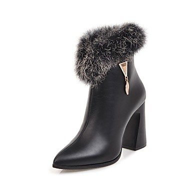 UK2 2 EU34 CN33 Casual Dress Beige Pointed Red Boots Boots Booties Women'S Boots Leatherette Toe RTRY Winter 5 Black 5 4 Shoes Heel Fashion For Chunky Ankle US4 Yellow HF4fqwSq