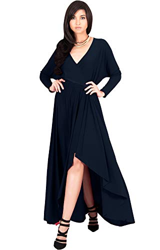 KOH KOH Plus Size Womens Long Sleeve Sleeves Wrap Slit Split Formal Fall Winter Cocktail Sexy Flowy Evening Day Abaya Gown Gowns Maxi Dress Dresses, Dark Navy Blue 2XL 18-20
