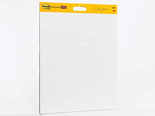 (Post-it Super Sticky Wall Easel Pad, 20 x 23 Inches, 20 Sheets/Pad, 1 Pad (566SS), Portable White Premium Self Stick Flip Chart Paper, Rolls for Portability, Hangs with Command Strips)
