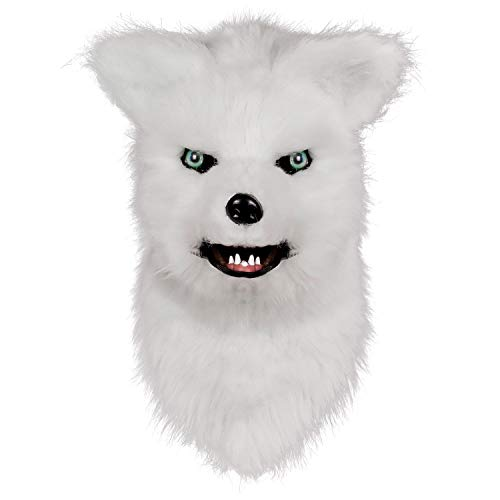 Molezu Movable Mouth Fox Mask, Costume Cosplay Mouth Mover Wolf Masks, Plush Faux Fur Suit for Halloween Party (White Fox)