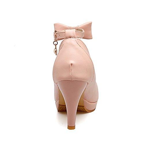 YE Damen Knöchelriemchen Pumps Stiletto High Heels Plateau mit Schleife und Schnalle Elegant Schuhe Rosa