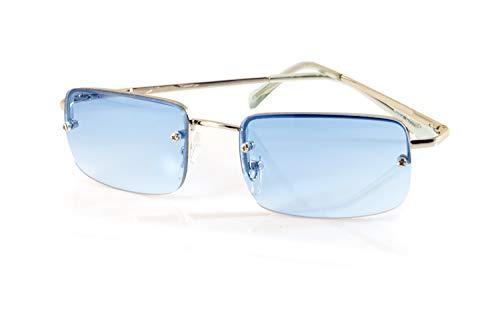 Rimless Mens Lens - FBL Minimalist Small Rectangular Sunglasses Clear Eyewear Spring Hinge A125 (Silver/Eclipse Blue)