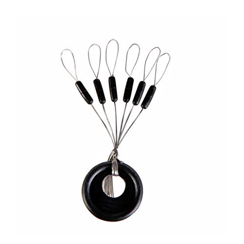 100pcs Space Bean Fishing Black Rubber Stopper Fishing Bobber Column Connector Fishing Line Tackle Accessories (L)