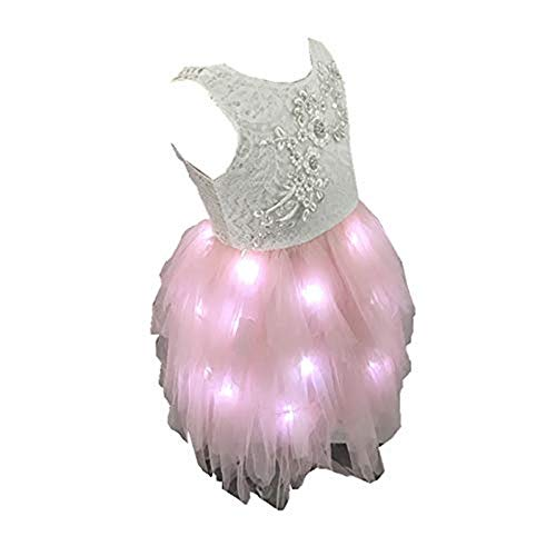 SHINYOU Girls Princess Tulle Dress Wedding Lace Backless Tutu A-line Ruffles LED Light Up Party Dresses (Pink+White Color, 5Years) -