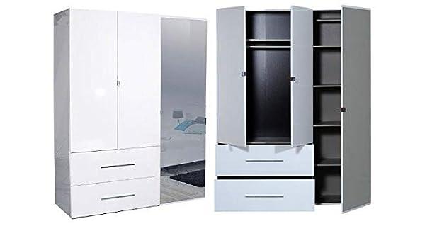 LIGNEUBLE HENDAYE LAQUADO BLANCO Dormitorio Moderno - Armario de 3 puertas: Amazon.es: Hogar