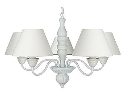 Lampadario Bianco Legno : Tosel 20934 caulnes lampadario a 5 luci lamiera di acciaio legno di