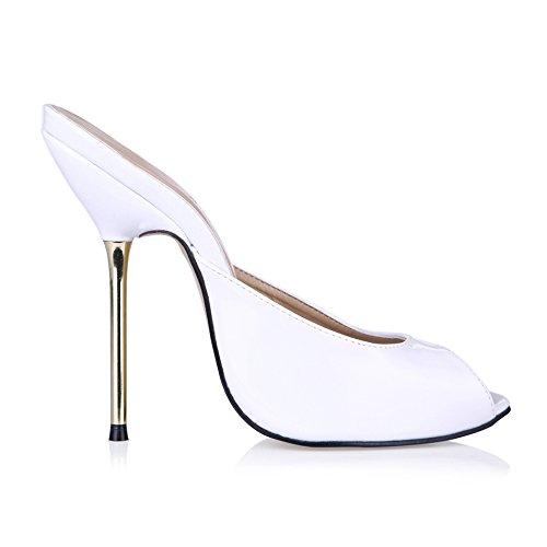 astuce paint white talon banquet chaussures à Sandales haut femme Pearl d'argent chaussures poisson grandes femmes qgOt6OWA
