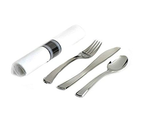 Look Napkins - Zappy 25 Pre Rolled Silver Plastic Spoon Fork Knife Rolled in Linen Like Napkin with Paper Napkin Rings Pre Wrap Plastic Silverware Sets Cutlery Kit Individual Silverware Tablesetting