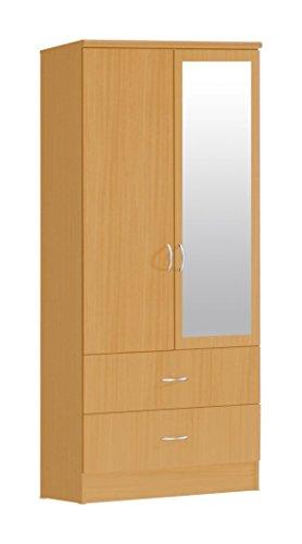 HODEDAH IMPORT 2-Door Wardrobe, Beech (Beech Wardrobe)