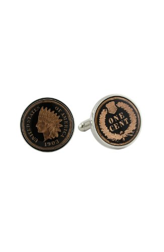 - David Donahue Sterling Silver Black Indian Head Penny Cufflinks (H95508302),Multicolored,One Size
