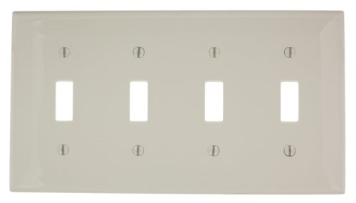 Leviton 80712-T 4-Gang Toggle Device Switch Wallplate, Standard Size, Thermoplastic Nylon, Light Almond
