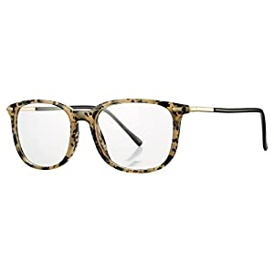 COASION Non-prescription Horn Rimmed Clear Lens Hipster Eye Glasses Frame Metal Temple OpticaL Eyewear (Spot, 52mm)