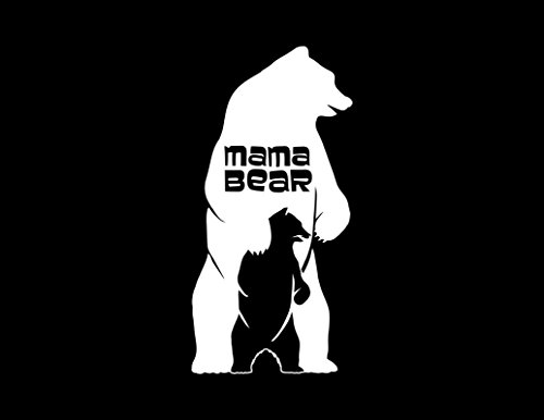 ND271W Mama Bear And Cub Standing Decal Sticker | 7-Inches By 3.4-Inches | Premium Quality White Vinyl