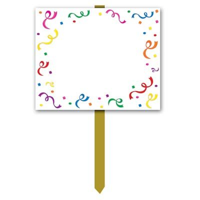Blank Yard Sign (blank w/confetti & serpentine border) Party Accessory  (1 count) -