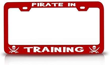 (LLgLOOhoOPPPJDh Pirate in Training Pirate Steel Metal Red License Plate Frame)