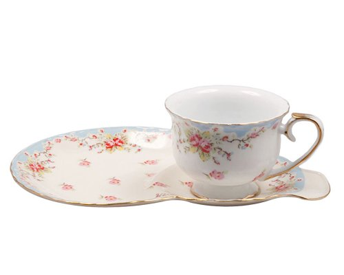 Gracie China by Coastline Imports Vintage Blue Rose Porcelain 2-Piece Snack Set, Blue (Vintage Snack)