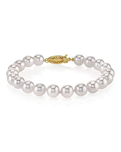 - THE PEARL SOURCE 18K Gold 7-7.5mm AAA Quality Round White Japanese Akoya Saltwater Cultured Pearl Bracelet for Women